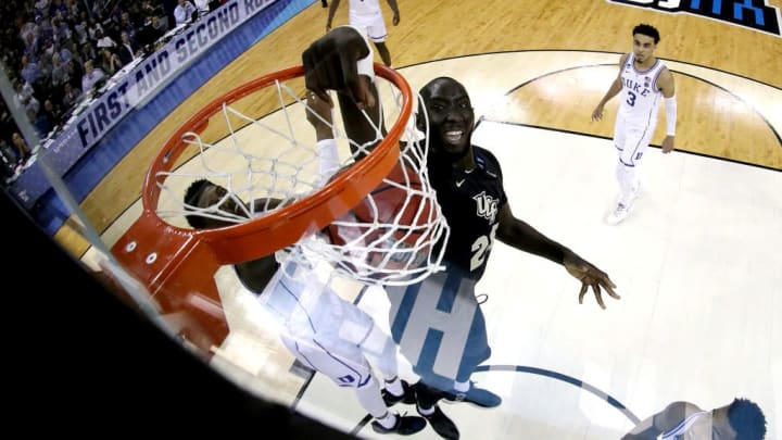 COLUMBIA, SOUTH CAROLINA - MARCH 24: Tacko Fall #24 of the UCF Knights dunks the ball against the Duke Blue Devils in the second round game of the 2019 NCAA Men's Basketball Tournament at Colonial Life Arena on March 24, 2019 in Columbia, South Carolina. (Photo by Streeter Lecka/Getty Images)