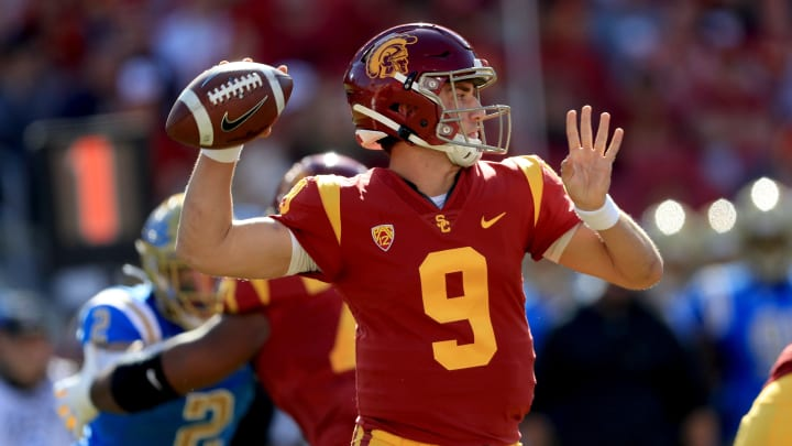 LOS ANGELES, CALIFORNIA - NOVEMBER 23:  Kedon Slovis #9 of the USC Trojans passes the ball during the first half of a game against the UCLA Bruins at Los Angeles Memorial Coliseum on November 23, 2019 in Los Angeles, California. (Photo by Sean M. Haffey/Getty Images)
