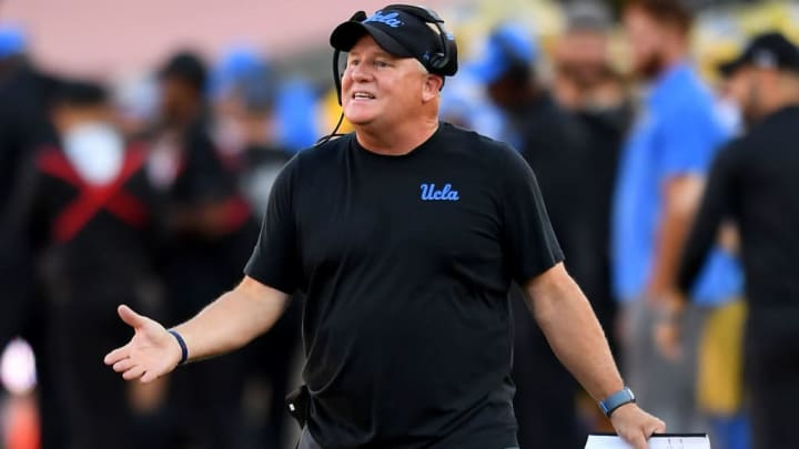 LOS ANGELES, CA - NOVEMBER 23: Head coach Chip Kelly of the UCLA Bruins pleads his case with officials during the game against the USC Trojans at the Los Angeles Memorial Coliseum on November 23, 2019 in Los Angeles, California. (Photo by Jayne Kamin-Oncea/Getty Images)