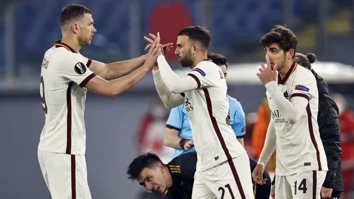 Uno scatto della Roma nella sfida con l'Ajax
