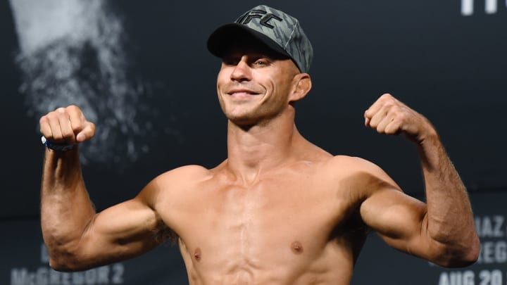 LAS VEGAS, NV - AUGUST 19:  Mixed martial artist Donald Cerrone poses on the scale during his weigh-in for UFC 202 at MGM Grand Conference Center on August 19, 2016 in Las Vegas, Nevada. Cerrone will meet Rick Story in a welterweight bout on August 20, 2016, at T-Mobile Arena in Las Vegas.  (Photo by Ethan Miller/Getty Images)