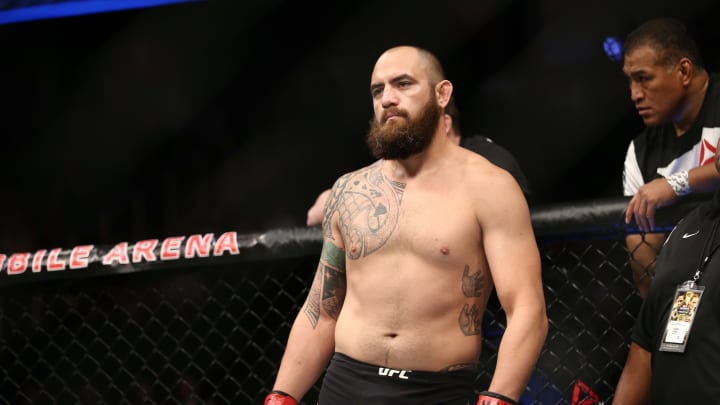 LAS VEGAS, NV - JULY 9: Travis Browne stands in the Octagon prior to his bout against Aleksei Oleinik during the UFC 213 event at T-Mobile Arena on July 9, 2017 in Las Vegas, Nevada. (Photo by Rey Del Rio/Getty Images)