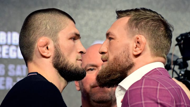 NEW YORK, NY - SEPTEMBER 20:  Lightweight champion Khabib Nurmagomedov faces-off with Conor McGregor during the UFC 229 Press Conference at Radio City Music Hall on September 20, 2018 in New York City.  (Photo by Steven Ryan/Getty Images)