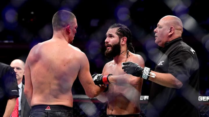 "NEW YORK, NEW YORK - NOVEMBER 02: Jorge Masvidal of the United States (R) speaks to Nate Diaz of the United States after he is awarded victory by TKO on a medical stoppage against in the Welterweight ""BMF"" championship bout during UFC 244 at Madison Square Garden on November 02, 2019 in New York City. (Photo by Steven Ryan/Getty Images)"