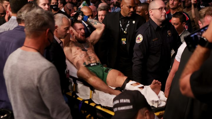 Conor McGregor leaving the octagon at UFC 264.