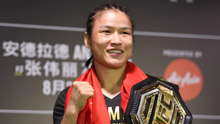 SHENZHEN, CHINA - AUGUST 31:  Zhang Weili of China attends the press conference after the UFC Fight Night event at Shenzhen Universiade Sports Centre on August 31, 2019 in Shenzhen, China.  (Photo by Zhe Ji/Getty Images)