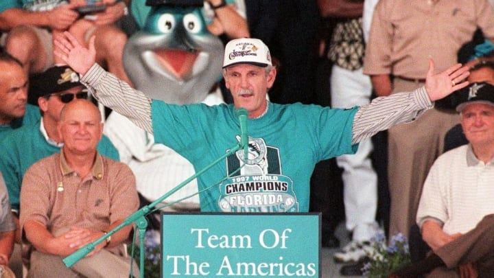 Jim Leyland celebrating the 1997 World Series.