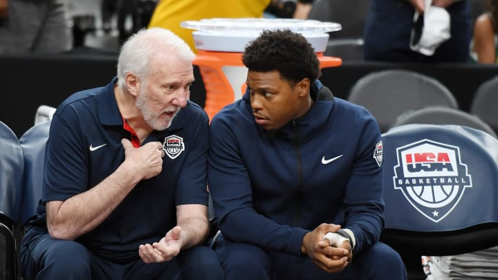 LAS VEGAS, NEVADA - AUGUST 09:  Head coach Gregg Popovich (L) of the 2019 USA Men's National Team talks with Kyle Lowry #51 of the 2019 USA Men's National Team before the 2019 USA Basketball Men's National Team Blue-White exhibition game at T-Mobile Arena on August 9, 2019 in Las Vegas, Nevada.  (Photo by Ethan Miller/Getty Images)
