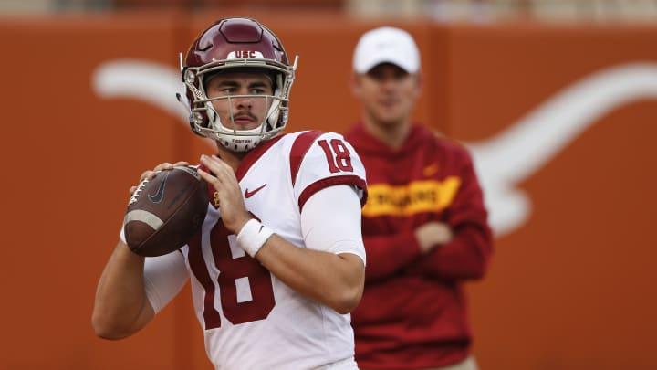 AUSTIN, TX - SEPTEMBER 15:  JT Daniels #18 of the USC Trojans warms up before the game against the Texas Longhorns at Darrell K Royal-Texas Memorial Stadium on September 15, 2018 in Austin, Texas.  (Photo by Tim Warner/Getty Images)