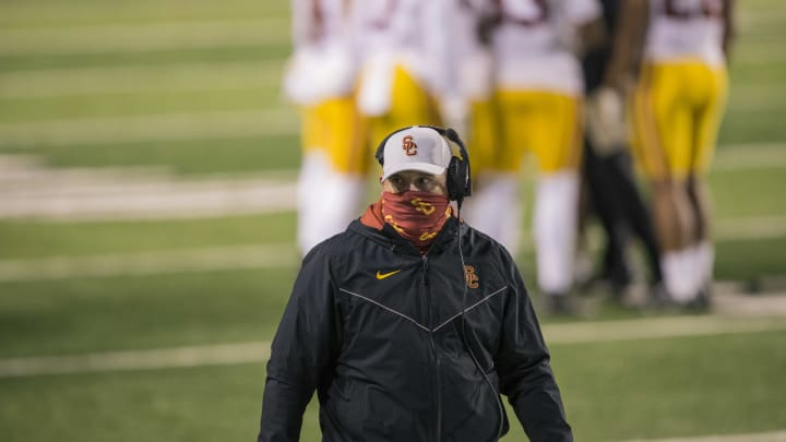 USC football head coach Clay Helton vs. Utah.