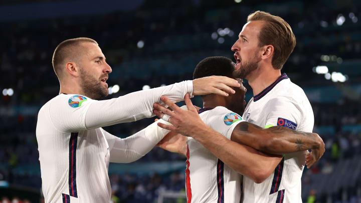 L'esultanza inglese dopo il goal di Harry Kane