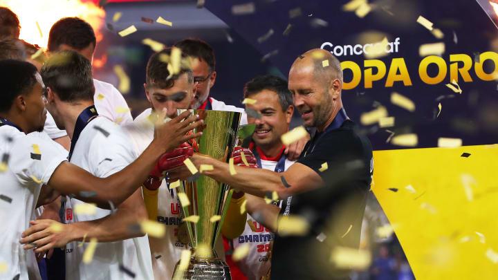 Gregg Berhalter celebrates winning the Gold Cup