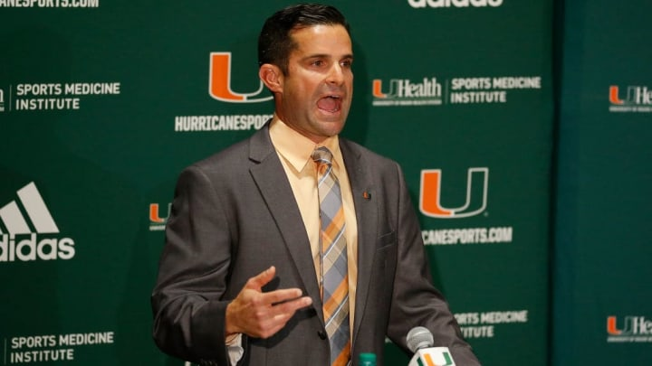 CORAL GABLES, FL - JANUARY 02:  Manny Diaz of the Miami Hurricanes addresses the media during his introductory press conference in the Mann Auditorium at the Schwartz Center on January 2, 2019 in Coral Gables, Florida.  (Photo by Michael Reaves/Getty Images)