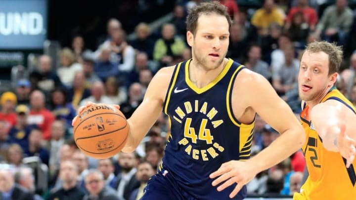 INDIANAPOLIS, IN - NOVEMBER 19:  Bojan Bogdanovic #44  of the Indiana Pacers dribbles the ball against the Utah Jazz  at Bankers Life Fieldhouse on November 19, 2018 in Indianapolis, Indiana.   NOTE TO USER: User expressly acknowledges and agrees that, by downloading and or using this photograph, User is consenting to the terms and conditions of the Getty Images License Agreement.  (Photo by Andy Lyons/Getty Images)