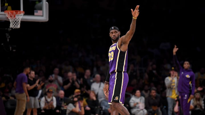 LOS ANGELES, CALIFORNIA - OCTOBER 25:  LeBron James #23 of the Los Angeles Lakers celebrates his pass to Anthony Davis #3 for a score during the first half against the Utah Jazz at Staples Center on October 25, 2019 in Los Angeles, California. (Photo by Harry How/Getty Images)