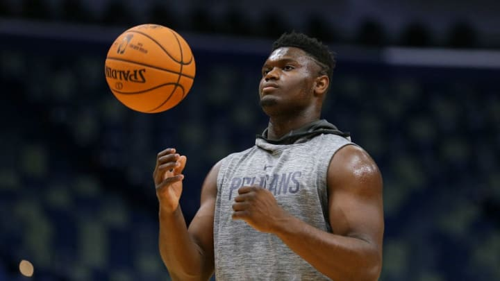 NEW ORLEANS, LOUISIANA - OCTOBER 11: Zion Williamson #1 of the New Orleans Pelicans warms up before a preseason game against the Utah Jazz at the Smoothie King Center on October 11, 2019 in New Orleans, Louisiana. NOTE TO USER: User expressly acknowledges and agrees that, by downloading and or using this Photograph, user is consenting to the terms and conditions of the Getty Images License Agreement. (Photo by Jonathan Bachman/Getty Images)