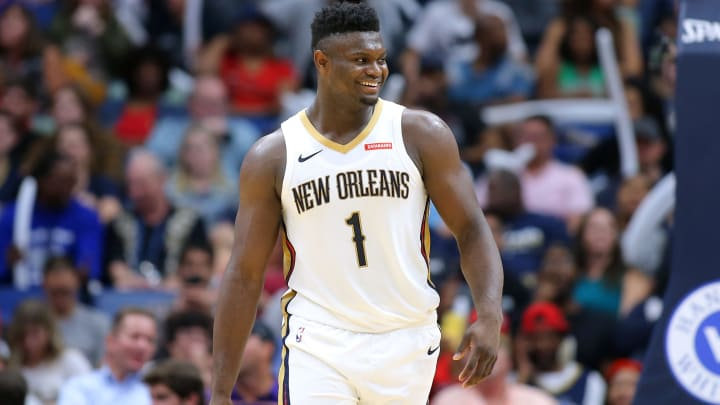 NEW ORLEANS, LOUISIANA - OCTOBER 11: Zion Williamson #1 of the New Orleans Pelicans reacts during a game against the Utah Jazz at the Smoothie King Center on October 11, 2019 in New Orleans, Louisiana. NOTE TO USER: User expressly acknowledges and agrees that, by downloading and or using this Photograph, user is consenting to the terms and conditions of the Getty Images License Agreement.  (Photo by Jonathan Bachman/Getty Images)