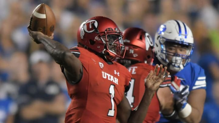 PROVO, UT - SEPTEMBER 9: Quarterback Tyler Huntley #1 of the Utah Utes looks to pass the ball during their game against the Brigham Young Cougars at LaVell Edwards Stadium on September 9, 2017 in Provo, Utah. (Photo by Gene Sweeney Jr/Getty Images)
