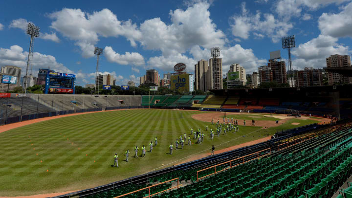 Players of Venezuelan baseball team Leones del Caracas attend a training session at the Universitario stadium in Caracas, on October 4, 2016. In spite of the crisis in Venezuela, a long list of stars are in the agenda for the 2016-2017 season of the Venezuelan Professional Baseball League. / AFP / FEDERICO PARRA / TO GO WITH AFP STORY BY ESTEBAN ROJAS         (Photo credit should read FEDERICO PARRA/AFP/Getty Images)
