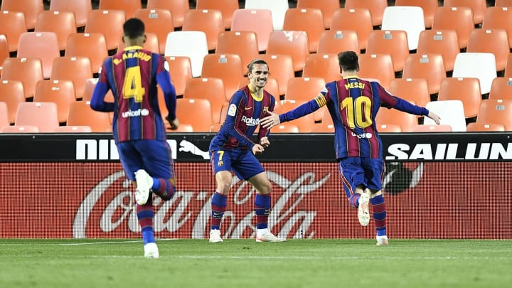 Antoine Griezmann and Lionel Messi inspired Barcelona to victory once more