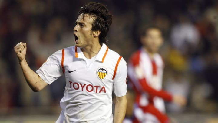 Valencia's David Silva celebrates his go