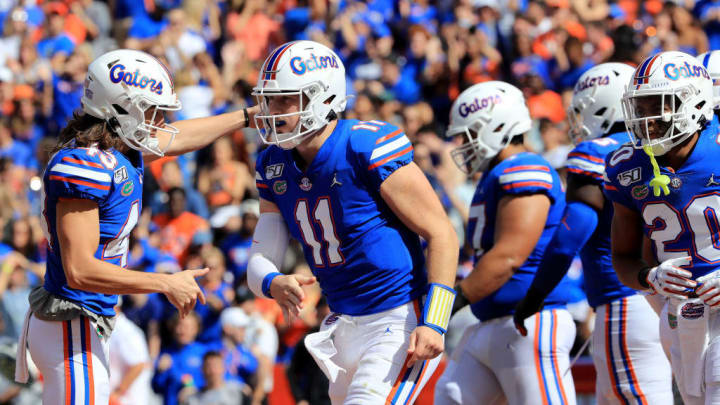 GAINESVILLE, FLORIDA - NOVEMBER 09: Kyle Trask #11 of the Florida Gators celebrates a touchdown during the game against the Vanderbilt Commodores at Ben Hill Griffin Stadium on November 09, 2019 in Gainesville, Florida. (Photo by Sam Greenwood/Getty Images)