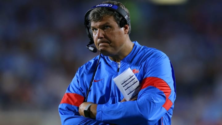 OXFORD, MISSISSIPPI - OCTOBER 05: Head coach Matt Luke of the Mississippi Rebels reacts during a game against the Vanderbilt Commodores at Vaught-Hemingway Stadium on October 05, 2019 in Oxford, Mississippi. (Photo by Jonathan Bachman/Getty Images)
