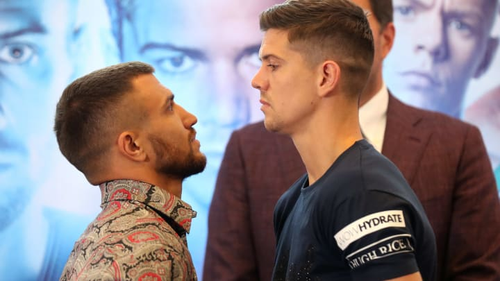 LONDON, ENGLAND - AUGUST 29: Vasiliy Lomachenko (L) and Luke Campbell (R) face off after speaking to the media during the Vasiliy Lomachenko and Luke Campbell press conference in the lead up to their WBC, WBA, WBO and Ring Magazine Lightweight World Title Fight at the Canary Riverside Plaza Hotel on August 29, 2019 in London, England. (Photo by James Chance/Getty Images)