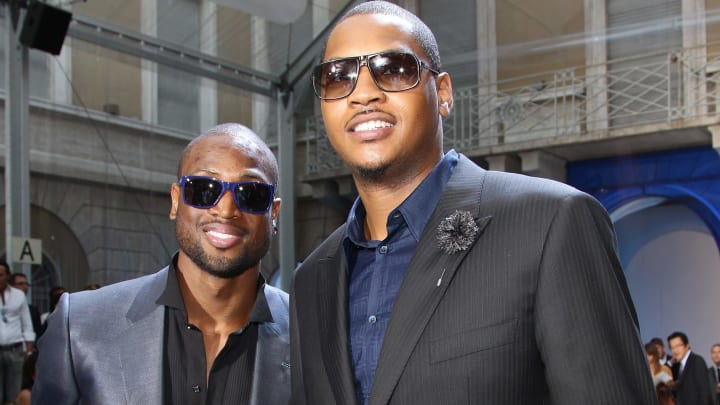 MILAN, ITALY - JUNE 20:  L-R Dwyane Wade and Carmelo Anthony attend the Versace fashion show on June 20, 2011 in Milan, Italy.  (Photo by Vittorio Zunino Celotto/Getty Images)