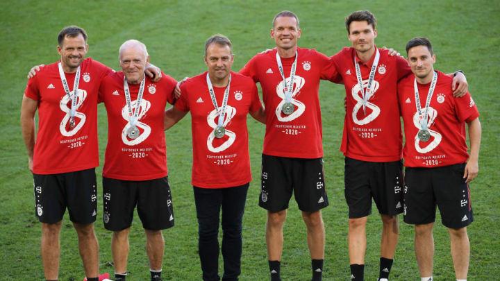 Hansi Flick, Hermann Gerland, Filip Tapalovic, Holger Broich, Danny Roehl, Michael Cuper