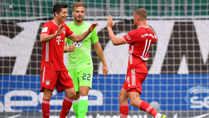 Mickaël Cuisance celebrates his superb curling effort to hand Bayern their second goal of the game