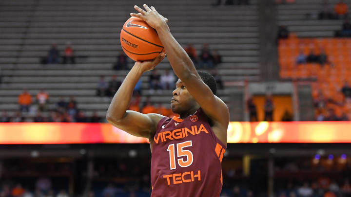 Virginia Tech's Jalen Cone takes a shot in a game against the Syracuse Orange.