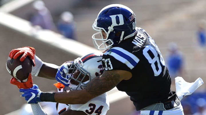 Bryce Hall (34) breaking up a pass against Duke