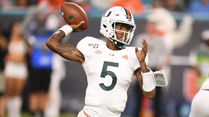 MIAMI, FLORIDA - OCTOBER 11: N'Kosi Perry #5 of the Miami Hurricanes in action against the Virginia Cavaliers in the second half at Hard Rock Stadium on October 11, 2019 in Miami, Florida. (Photo by Mark Brown/Getty Images)