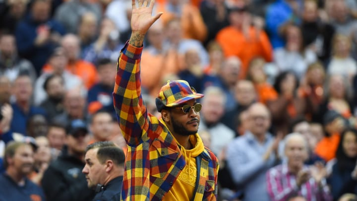 SYRACUSE, NY - NOVEMBER 06:  Syracuse Orange basketball alum Carmelo Anthony waves to the crowd prior to the game against the Virginia Cavaliers at the Carrier Dome on November 6, 2019 in Syracuse, New York. (Photo by Rich Barnes/Getty Images)