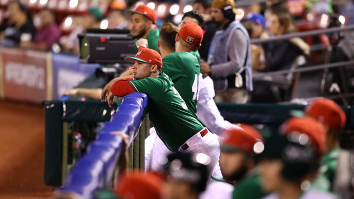 ZAPOPAN, MEXICO - NOVEMBER 03: Players of Mexico looks on during the WBSC Premier 12 Group A match between Mexico and USA at Estadio de Beisbol Charros de Jalisco on November 3, 2019 in Zapopan, Mexico. (Photo by Refugio Ruiz/Getty Images)