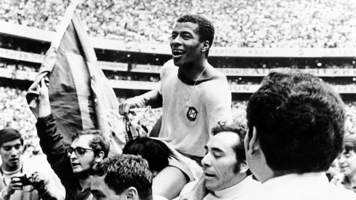 Jairzinho after Brazil thumped Italy in the 1970 World Cup final