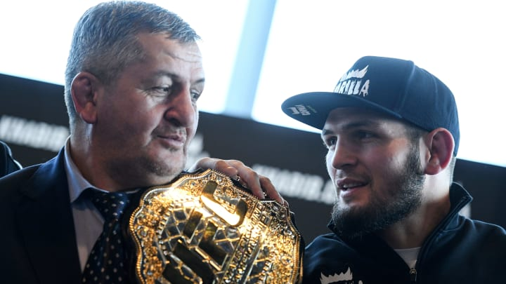 Abdulmanap Nurmagomedov with his son, Khabib, the UFC lightweight champion