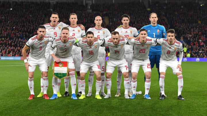 Hungary line up before a Euro 2020 qualifier in Wales