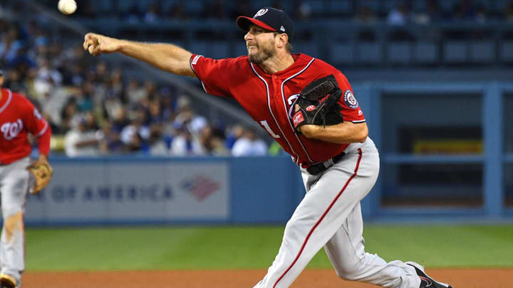 LOS ANGELES, CA - MAY 11: Max Scherzer #31 of the Washington Nationals pitches in the seventh inning of the game against the Los Angeles Dodgers at Dodger Stadium on May 11, 2019 in Los Angeles, California. (Photo by Jayne Kamin-Oncea/Getty Images)