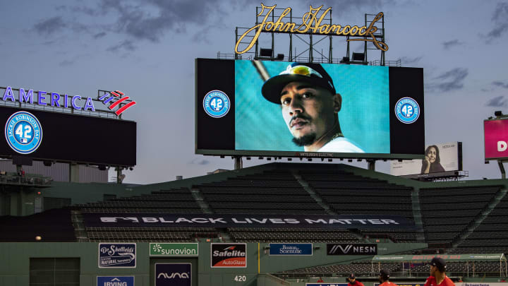 Mookie Betts looks down on the Red Sox.