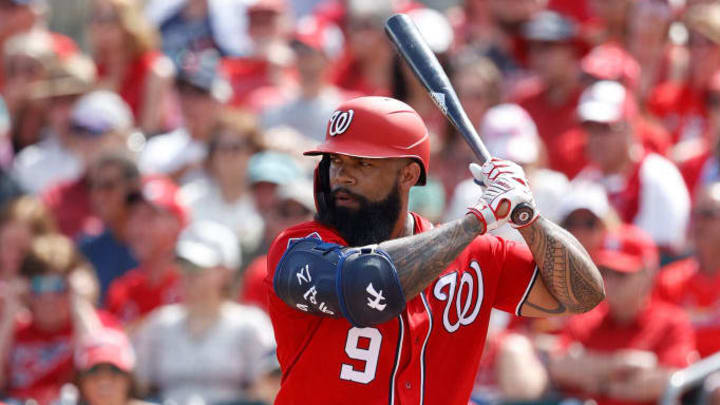 Eric Thames during a Spring Training at-bat for the Nationals.
