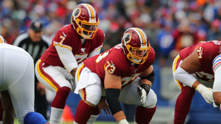 ORCHARD PARK, NY - NOVEMBER 03:  Chase Roullier #73 of the Washington Redskins waits to snap the ball against the Buffalo Bills at New Era Field on November 3, 2019 in Orchard Park, New York.  Buffalo beats Washington 24 to 9. (Photo by Timothy T Ludwig/Getty Images)
