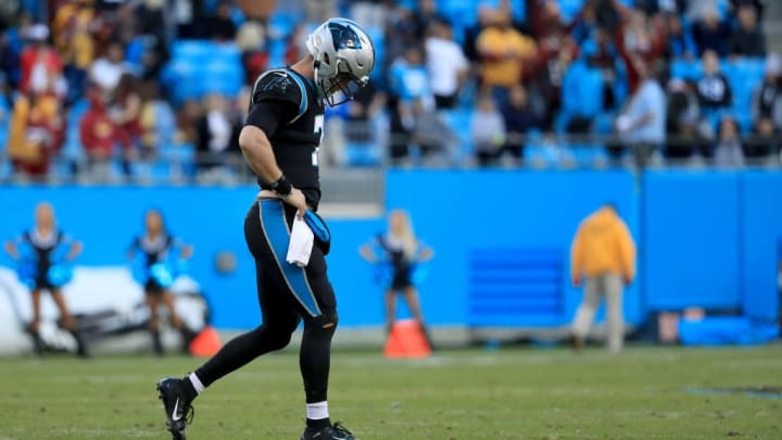 CHARLOTTE, NORTH CAROLINA - DECEMBER 01: Kyle Allen #7 of the Carolina Panthers reacts after his last play on offense against the Washington Redskins during their game at Bank of America Stadium on December 01, 2019 in Charlotte, North Carolina. (Photo by Streeter Lecka/Getty Images)
