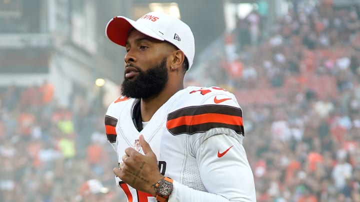 CLEVELAND, OH - AUGUST 8:  Odell Beckham Jr. #13 of the Cleveland Browns walks onto the field prior to the start of the game against the Washington Redskins at FirstEnergy Stadium on August 8, 2019 in Cleveland, Ohio. (Photo by Kirk Irwin/Getty Images)