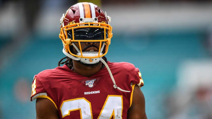 MIAMI, FLORIDA - OCTOBER 13: Josh Norman #24 of the Washington Redskins warms up prior to the game against Miami Dolphins at Hard Rock Stadium on October 13, 2019 in Miami, Florida. (Photo by Mark Brown/Getty Images)
