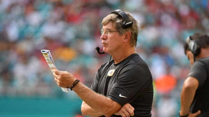MIAMI, FL - OCTOBER 13: Head coach Bill Callahan of the Washington Redskins looks on during the second half against the Miami Dolphins at Hard Rock Stadium on October 13, 2019 in Miami, Florida. (Photo by Eric Espada/Getty Images)