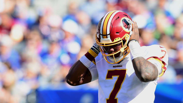 EAST RUTHERFORD, NEW JERSEY - SEPTEMBER 29: Dwayne Haskins #7 of the Washington Redskins reacts during their game against the New York Giants at MetLife Stadium on September 29, 2019 in East Rutherford, New Jersey. (Photo by Emilee Chinn/Getty Images)