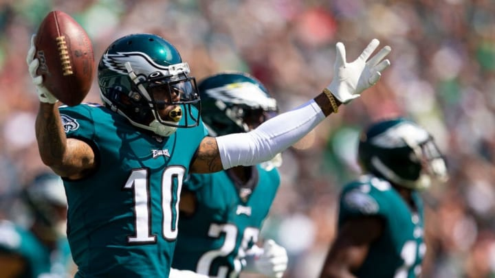 PHILADELPHIA, PA - SEPTEMBER 08: DeSean Jackson #10 of the Philadelphia Eagles reacts after catching a touchdown against the Washington Redskins in the second quarter at Lincoln Financial Field on September 8, 2019 in Philadelphia, Pennsylvania. (Photo by Mitchell Leff/Getty Images)