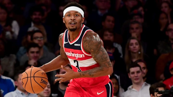 NEW YORK, NEW YORK - OCTOBER 11: Bradley Beal #3 of the Washington Wizards dribbles the ball during their game against the New York Knicks at Madison Square Garden on October 11, 2019 in New York City. NOTE TO USER: User expressly acknowledges and agrees that, by downloading and or using this photograph, User is consenting to the terms and conditions of the Getty Images License Agreement. (Photo by Emilee Chinn/Getty Images)